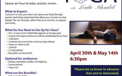 Restful Restorative Yoga Class with Linda Schnabel